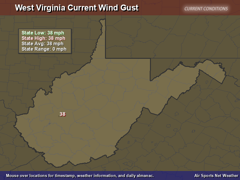 West Virginia Wind Gust Map
