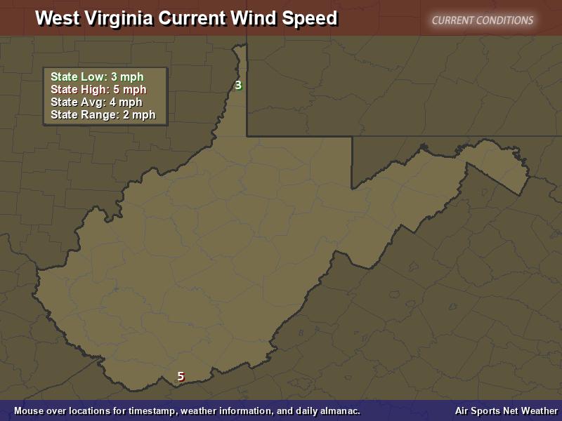 West Virginia Wind Speed Map