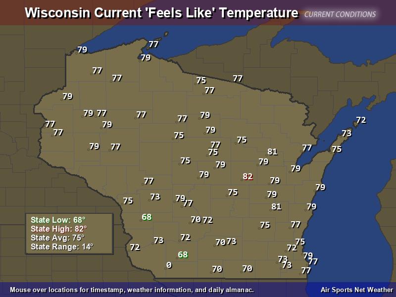 Wisconsin Feels Like Temperature Map