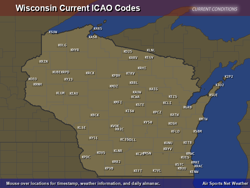 Wisconsin ICAO Map