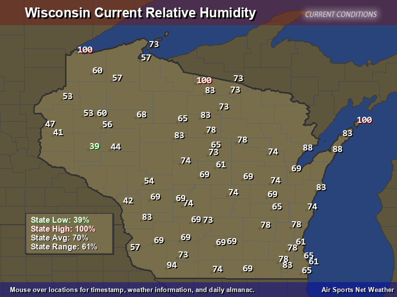 Wisconsin Relative Humidity Map