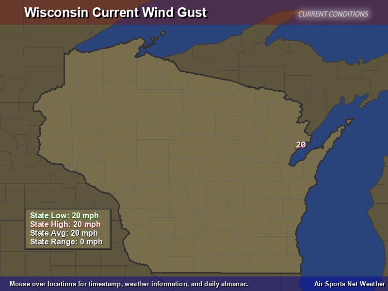 Wisconsin Wind Gust Map