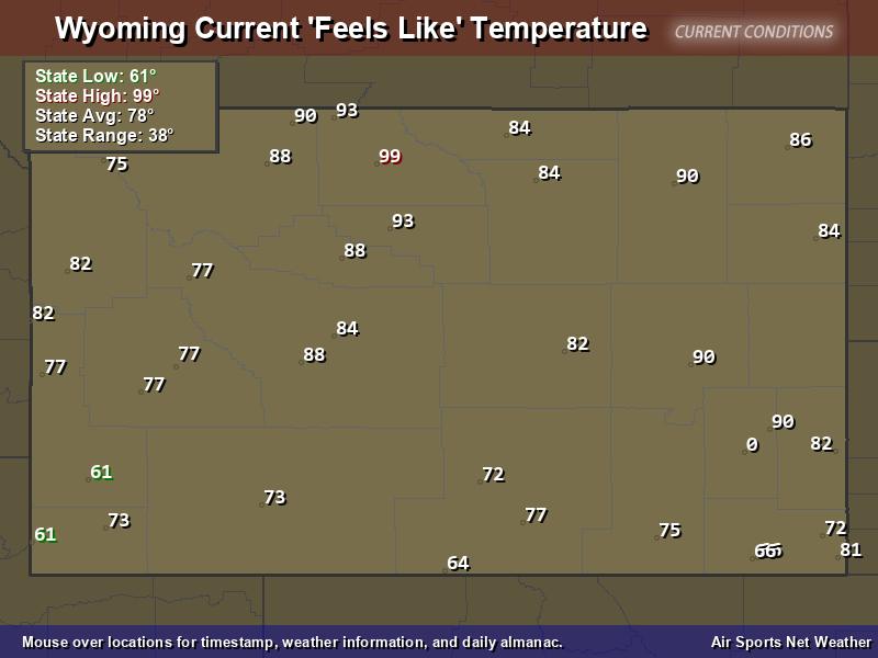 Wyoming Feels Like Temperature Map