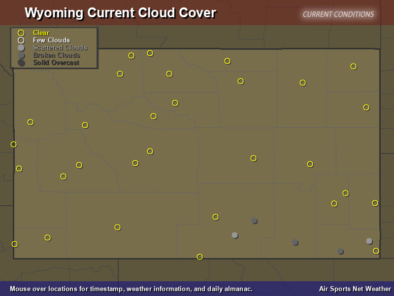Wyoming Cloud Cover Map