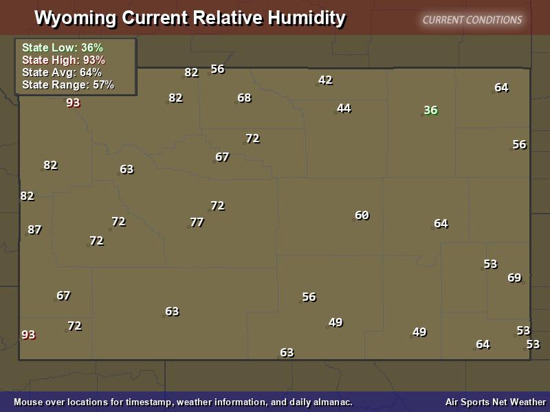 Wyoming Relative Humidity Map