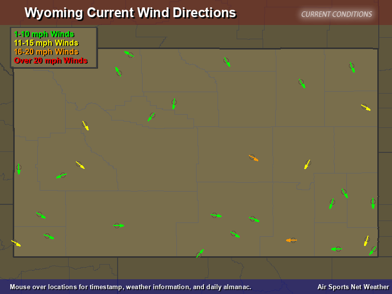 Wyoming Wind Direction Map
