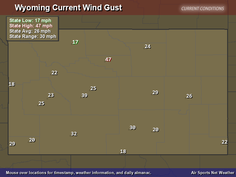 Wyoming Wind Gust Map