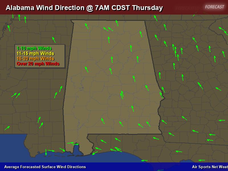 Alabama Wind Direction Forecast Map