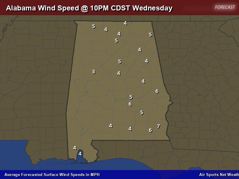Alabama Wind Speed Forecast Map