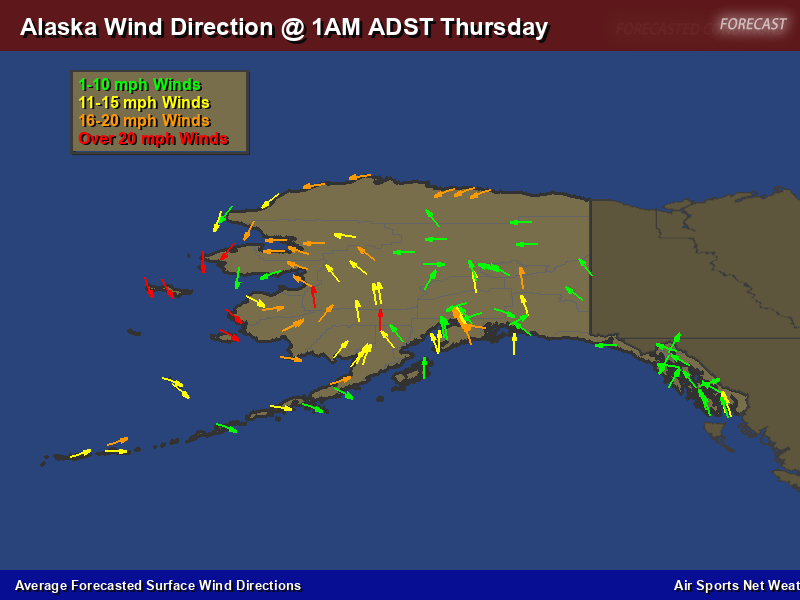 Alaska Wind Direction Forecast Map