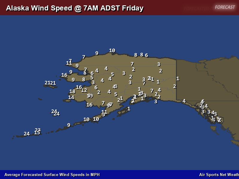 Alaska Wind Speed Forecast Map