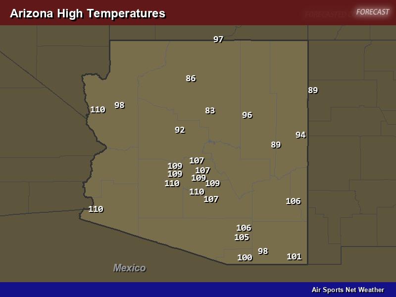 Arizona High Temperatures Map
