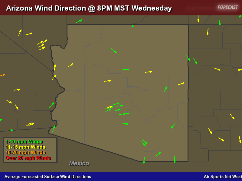 Arizona Wind Direction Forecast Map