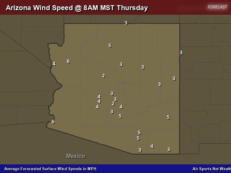 Arizona Wind Speed Forecast Map