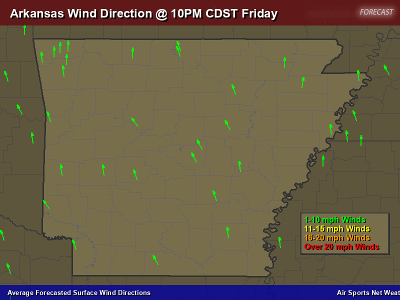Arkansas Wind Direction Forecast Map