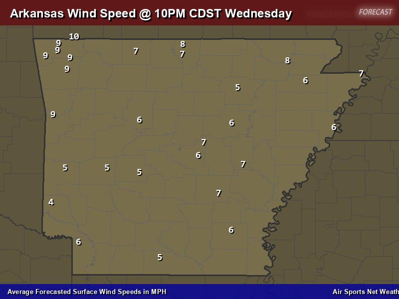 Arkansas Wind Speed Forecast Map