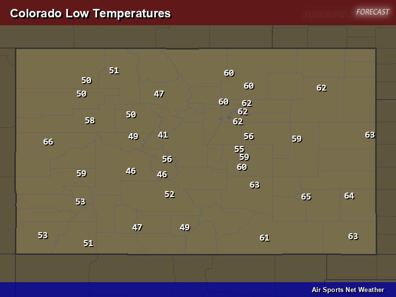 Colorado Low Temperatures Map
