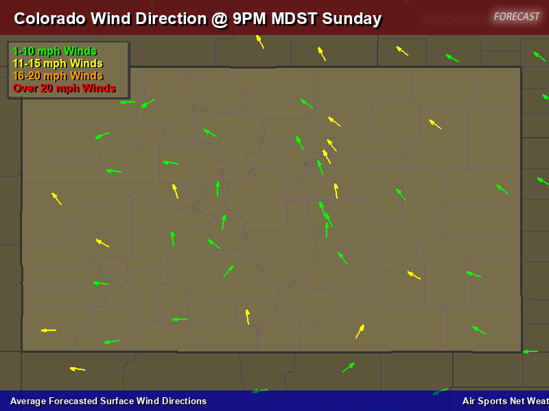 Colorado Wind Direction Forecast Map