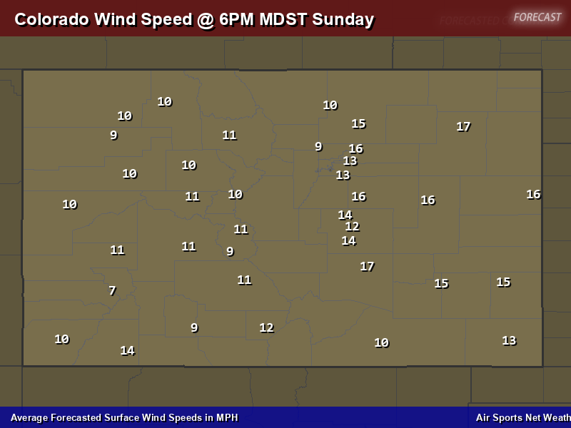 Colorado Wind Speed Forecast Map