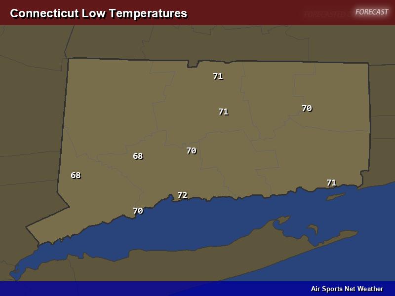 Connecticut Low Temperatures Map
