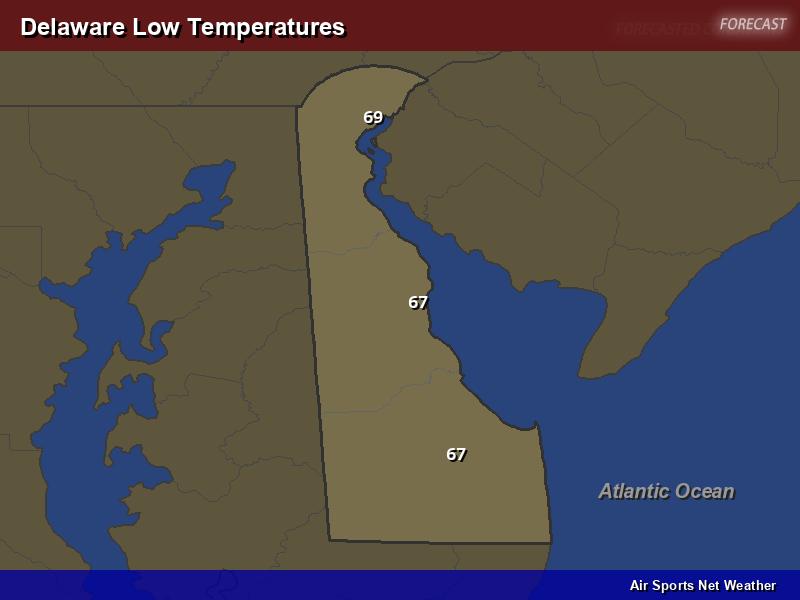 Delaware Low Temperatures Map
