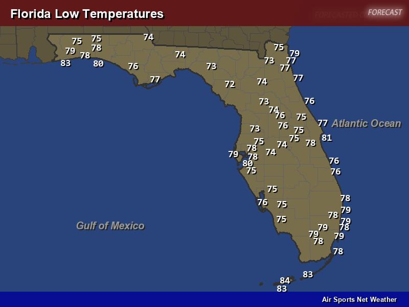 Florida Temperature Map.Florida Low Temperatures Map Air Sports Net