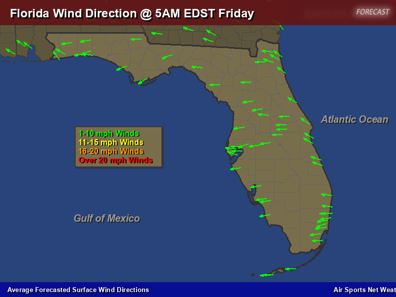 Florida Weather Forecast Map.Florida Wind Direction Forecast Map Air Sports Net