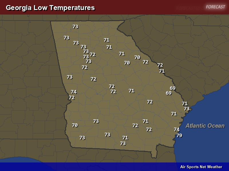 Georgia Low Temperatures Map