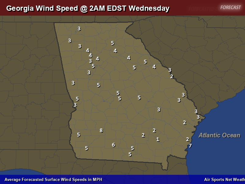 Georgia Wind Speed Forecast Map