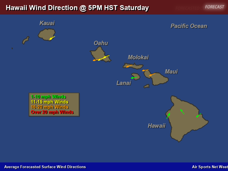 Hawaii Wind Direction Forecast Map Air Sports Net