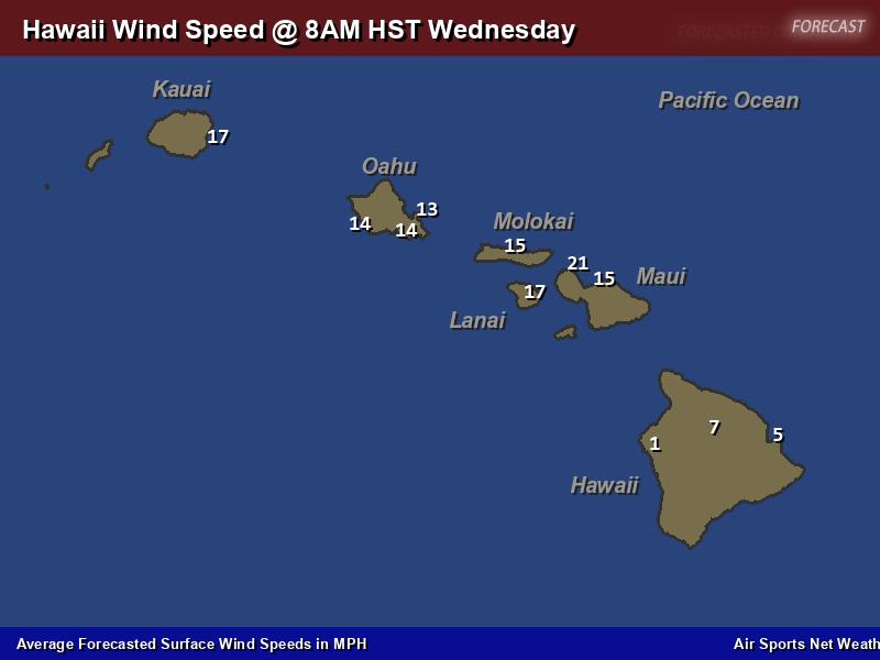 Hawaii Wind Speed Forecast Map