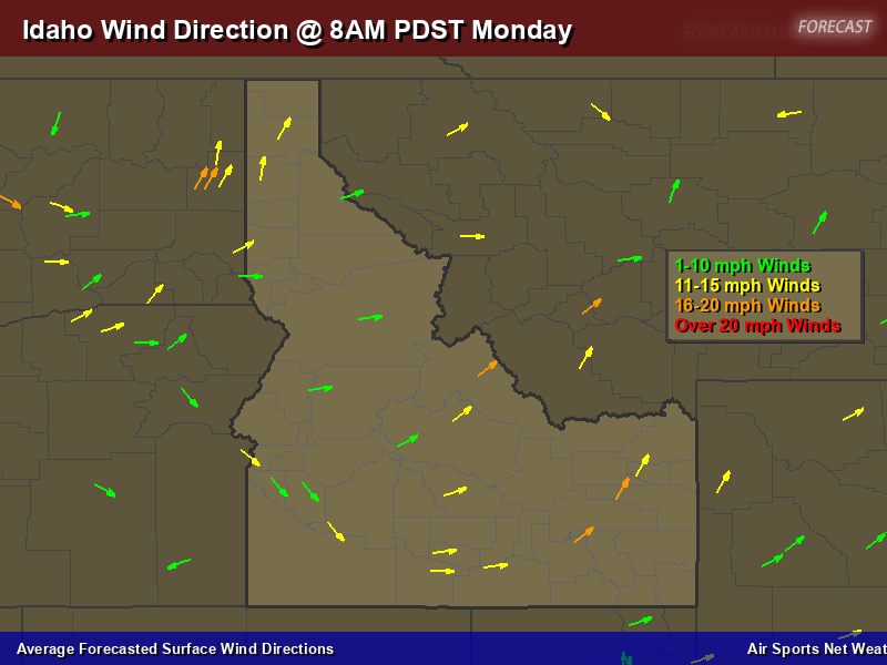 Idaho Wind Direction Forecast Map