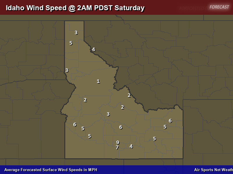 Idaho Wind Speed Forecast Map