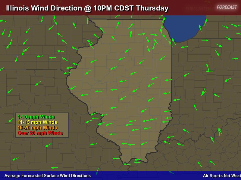 Illinois Wind Direction Forecast Map