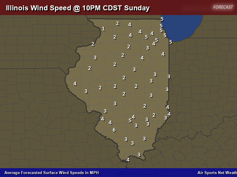 Illinois Wind Speed Forecast Map