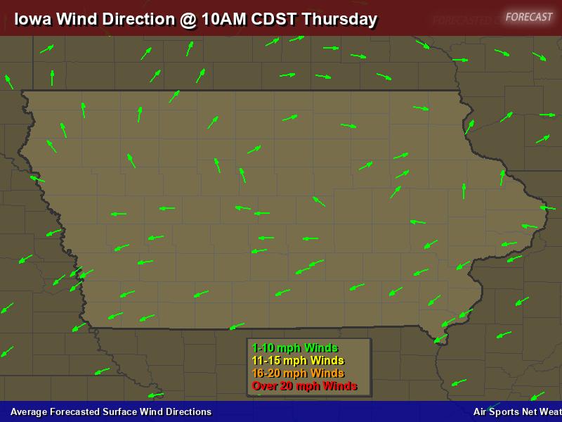 Iowa Wind Direction Forecast Map