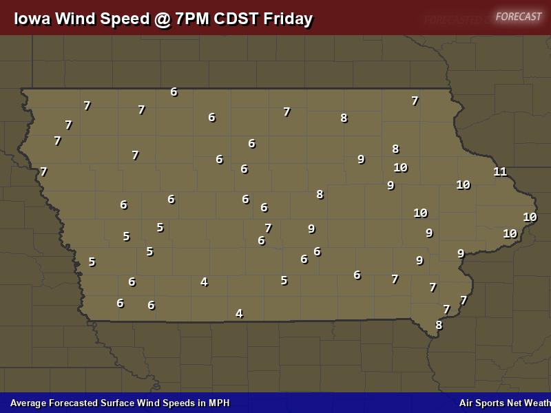 Iowa Wind Speed Forecast Map