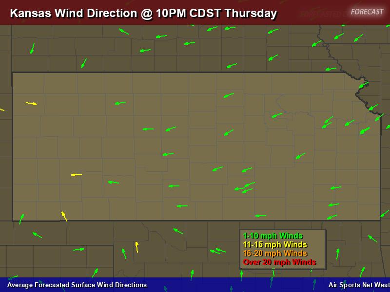 Kansas Wind Direction Forecast Map