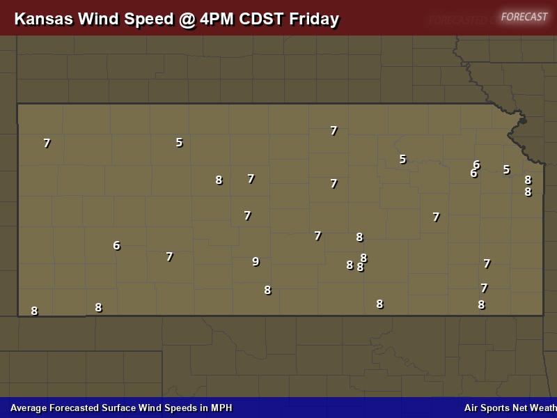 Kansas Wind Speed Forecast Map