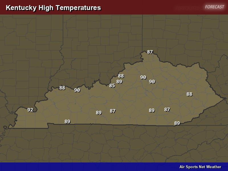 Kentucky High Temperatures Map