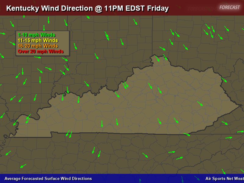 Kentucky Wind Direction Forecast Map