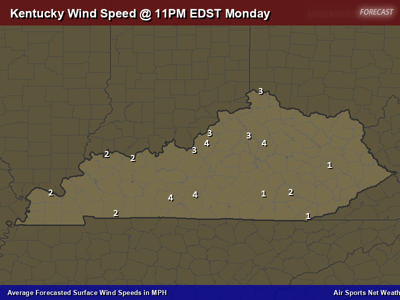 Kentucky Wind Speed Forecast Map