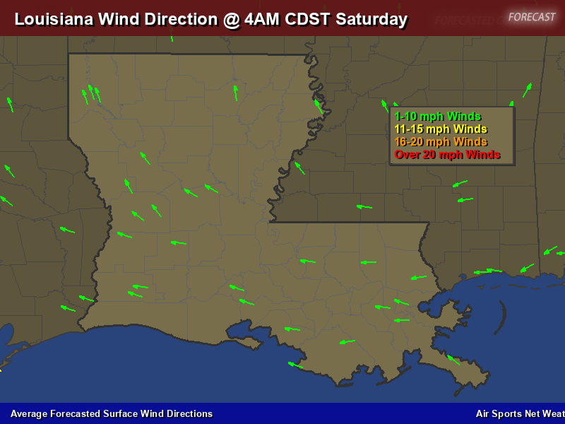 Louisiana Wind Direction Forecast Map