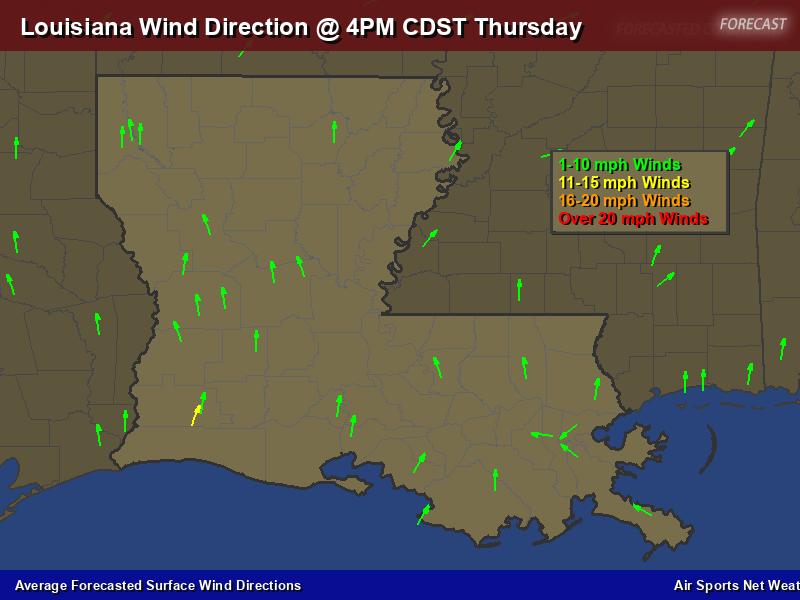 Louisiana Wind Direction Forecast Map