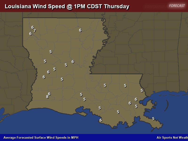 Louisiana Wind Speed Forecast Map