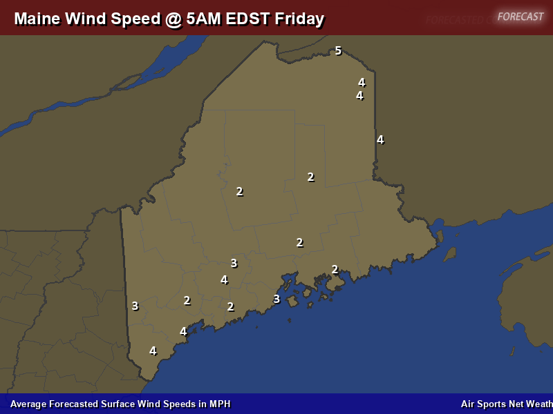 Maine Wind Speed Forecast Map