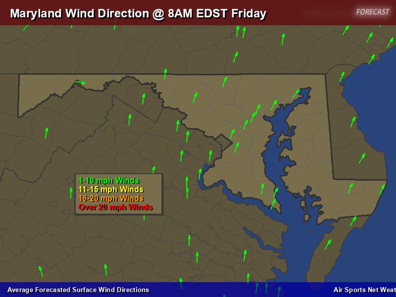 Maryland Wind Direction Forecast Map