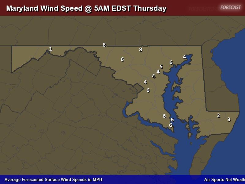 Maryland Wind Speed Forecast Map