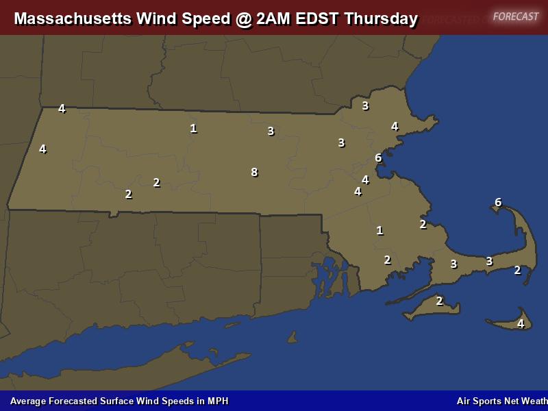 Massachusetts Wind Speed Forecast Map