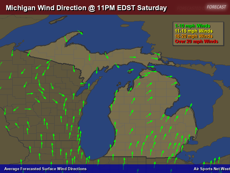 Michigan Wind Direction Forecast Map